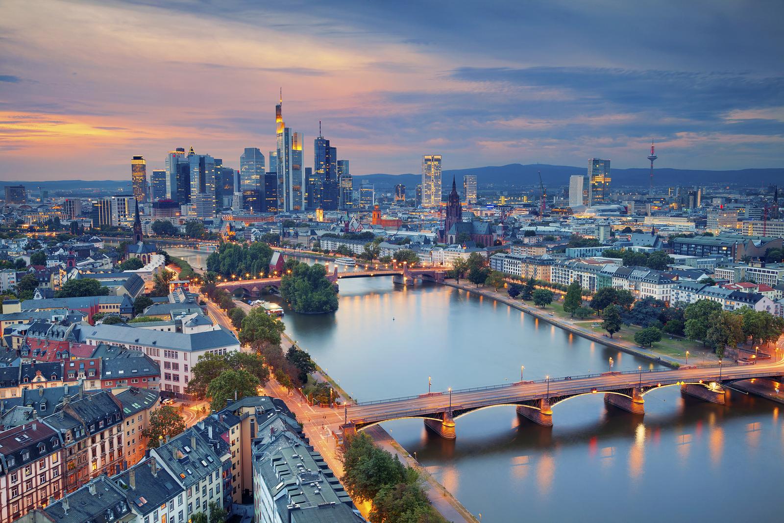 Frankfurt am Main. Image of Frankfurt am Main skyline during twilight blue hour.