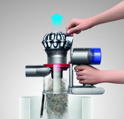 Higieniczne opróżnianie zbiornika bezprzewodowego odkurzacza Dyson