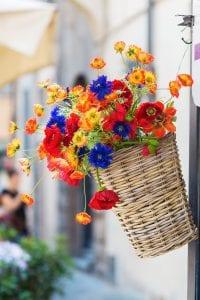 Zawieszanie kwiatów na balkonie w koszykach i doniczkach