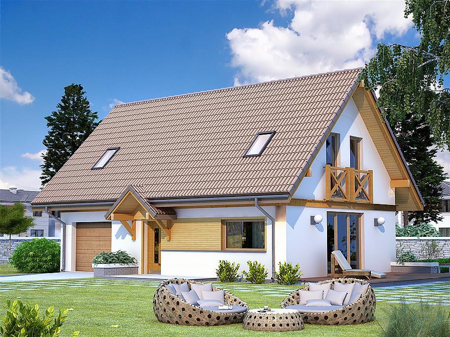 dom na planie prostokąta z poddaszem