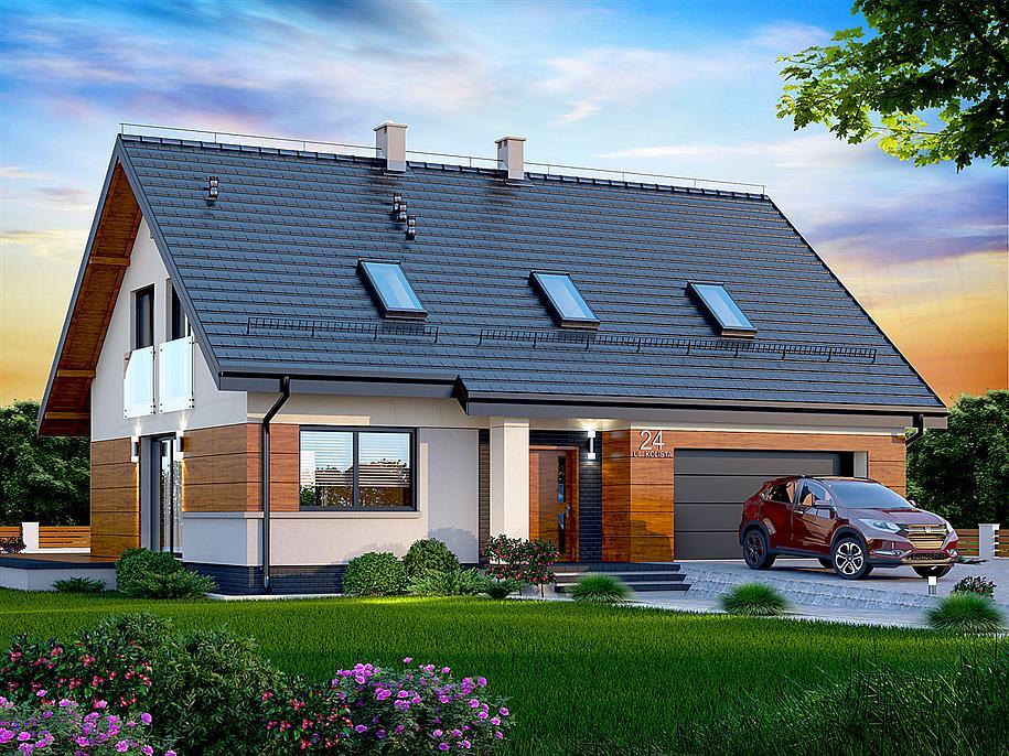 dom z poddaszem i oknami dachowymi
