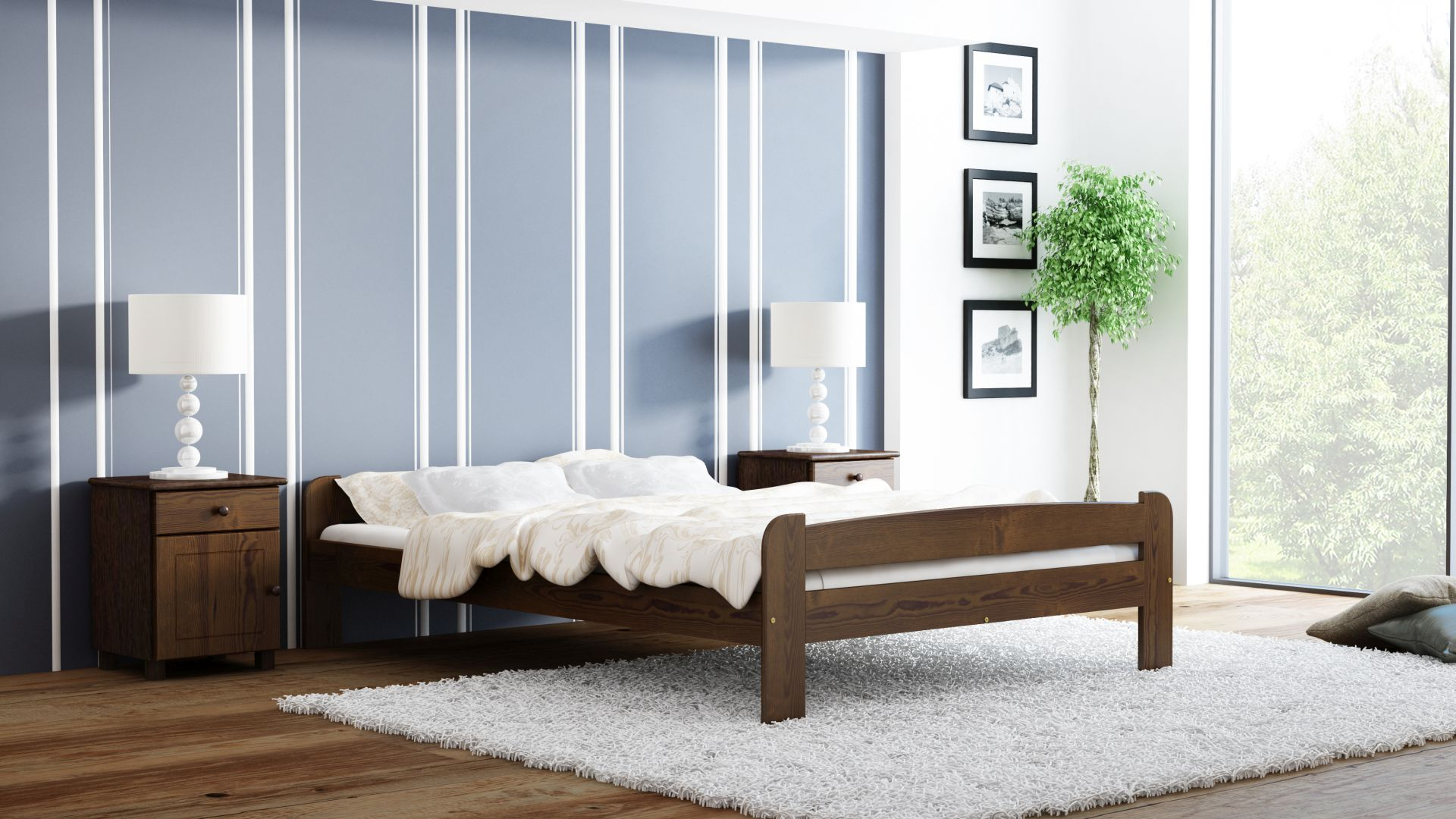 łóżko z drewna w sypialni