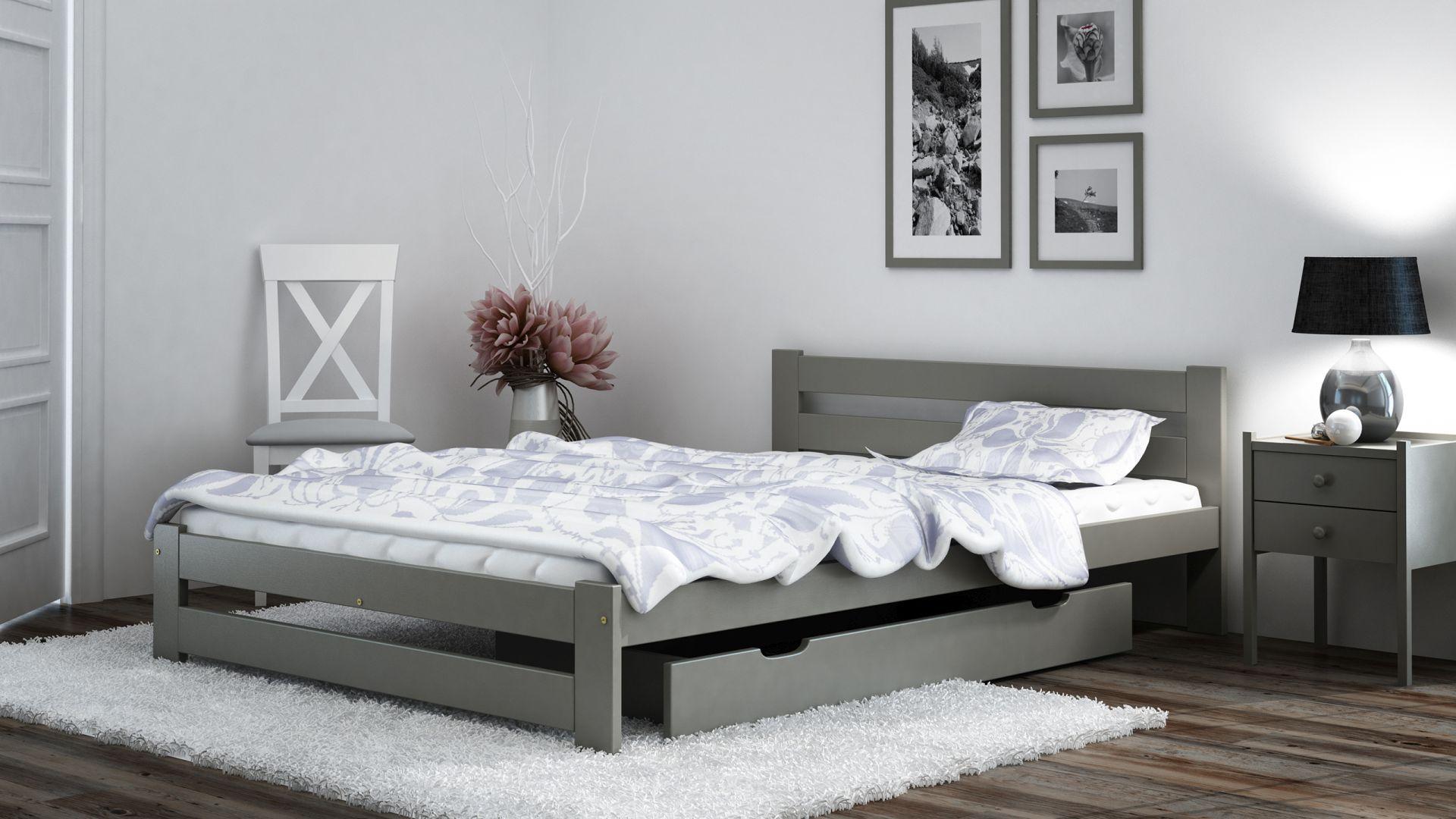 szare łózko w minimalistycznej sypialni