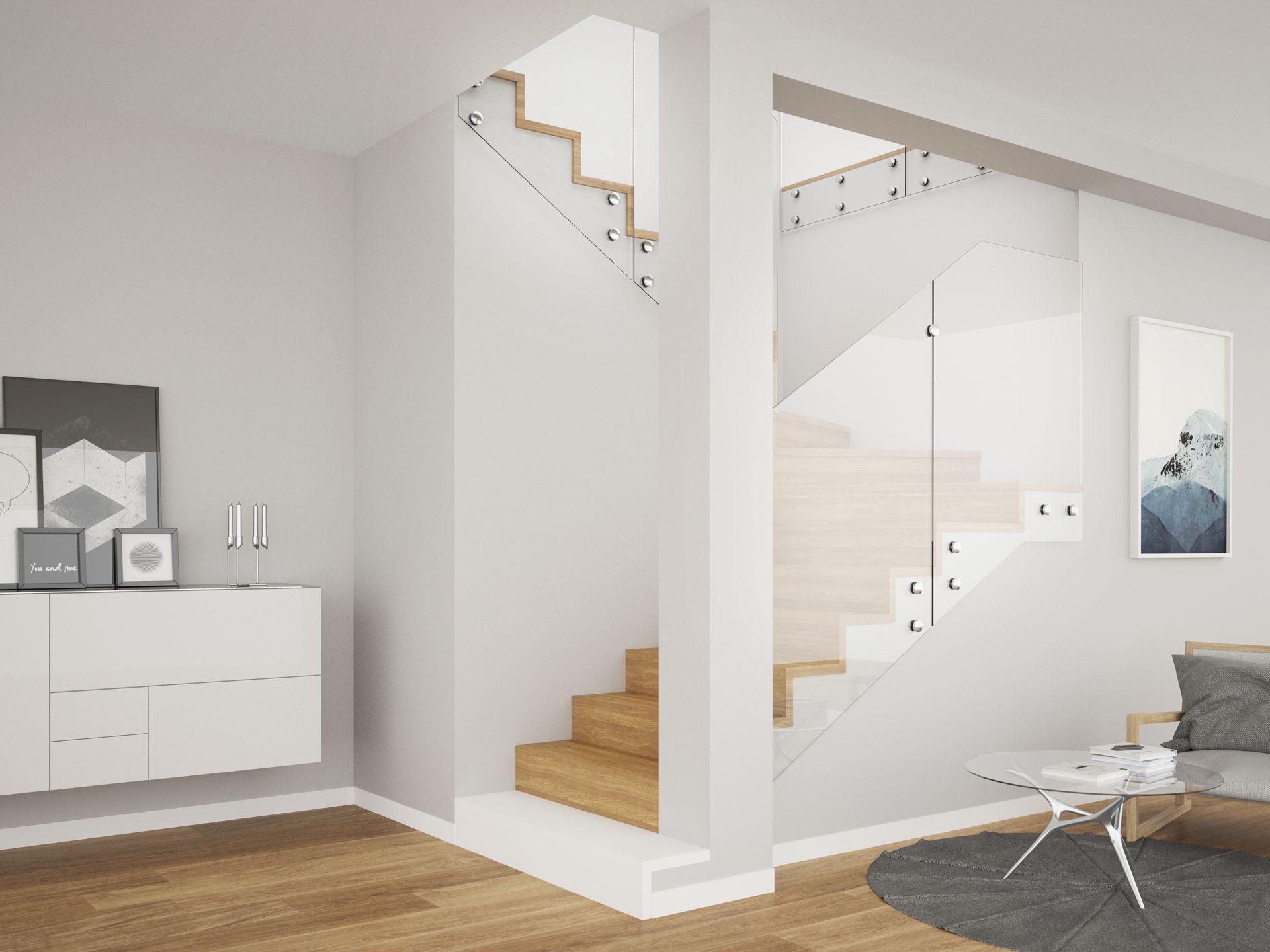 schody styl skandynawski, balustrada szklana