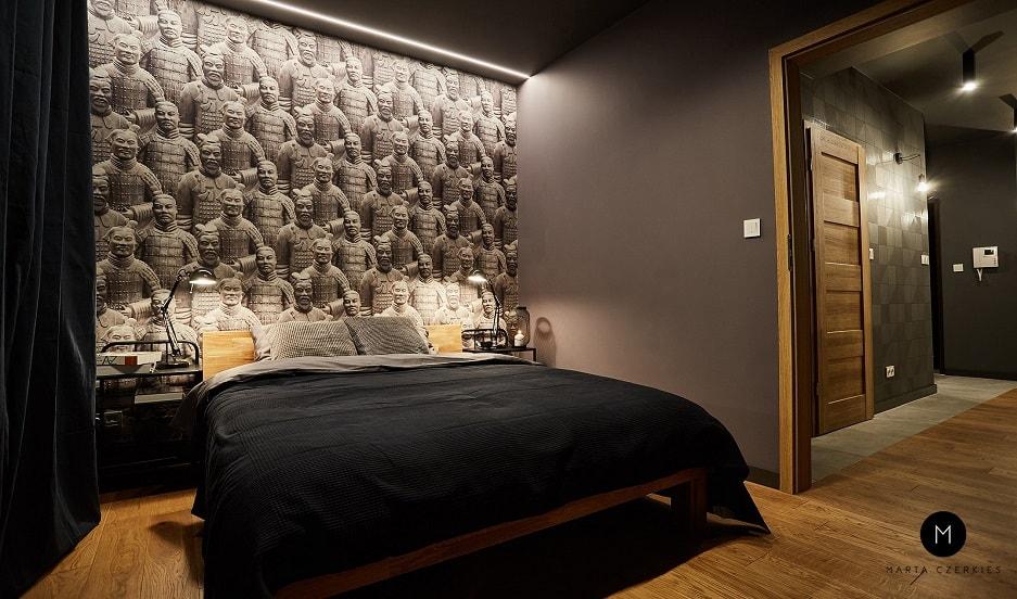 sypialnia urządzona na czarno