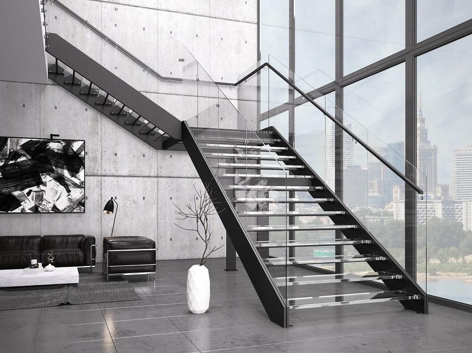 schody ze szklanymi stopniami