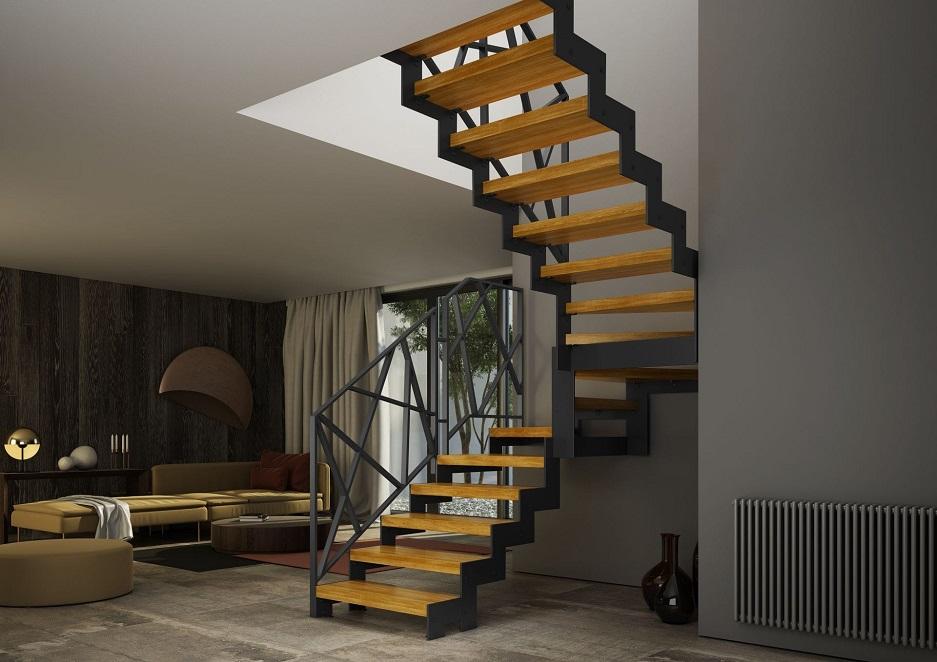 schody drewniane z metalowymi poręczami