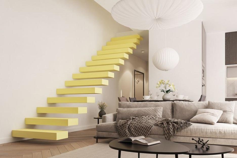 Wykończenie schodów - żółte schody bez