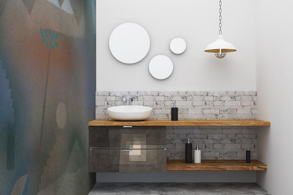 łazienka w stylu minimalistycznym z fototapetą