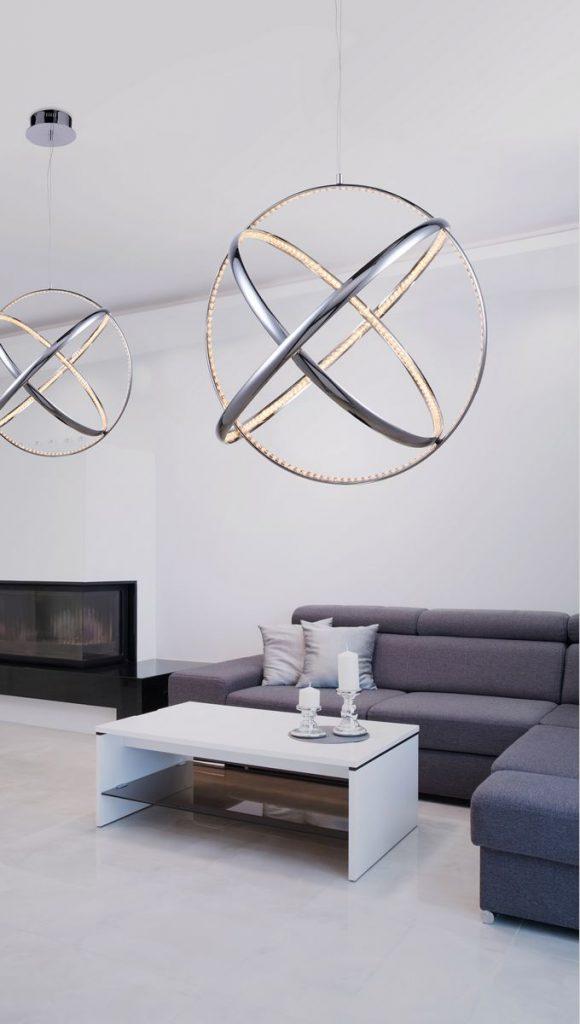 oświetlenie w salonie - futurystyczna lampa wisząca