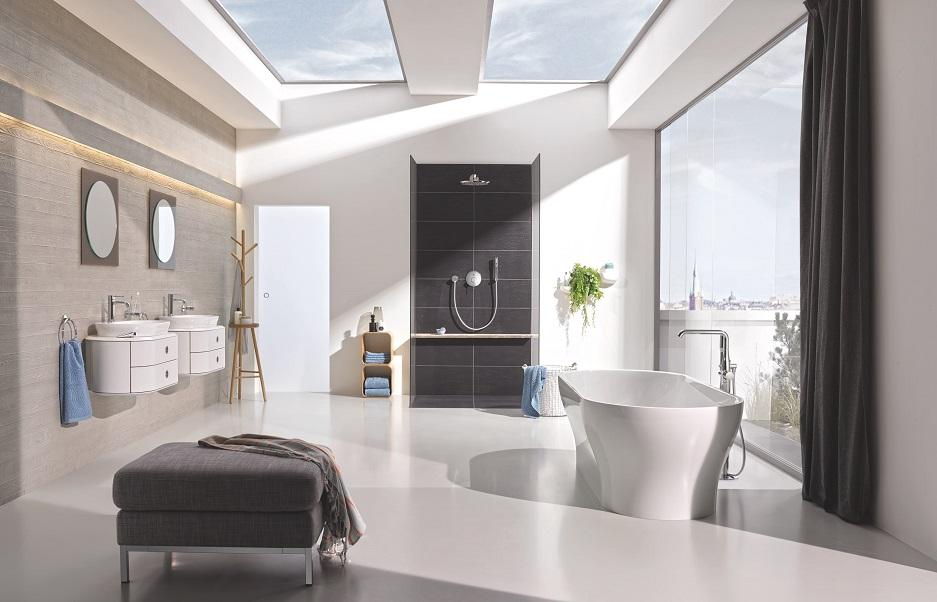 nowoczesna łazienka w beżach, bieli i czerni