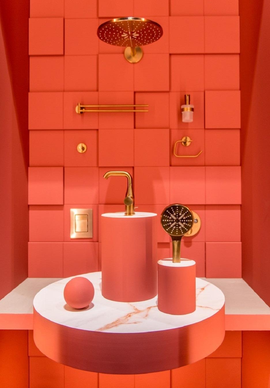 łazienka w czerwonym kolorze