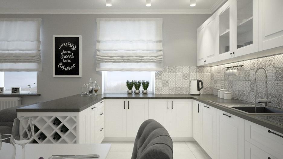 mieszkanie w kamienicy w stylu prowansalskim w bieli i szarościach