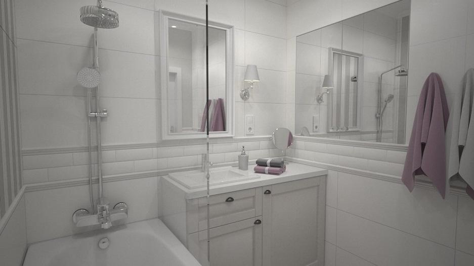 łazienka w kamienicy w stylu prowansalskim