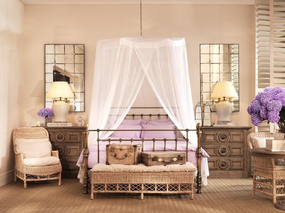 sypialnia w stylu kolonialnym