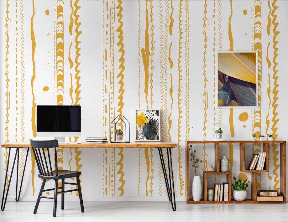 tapeta w gabinecie nowoczesnym w żółtym kolorze