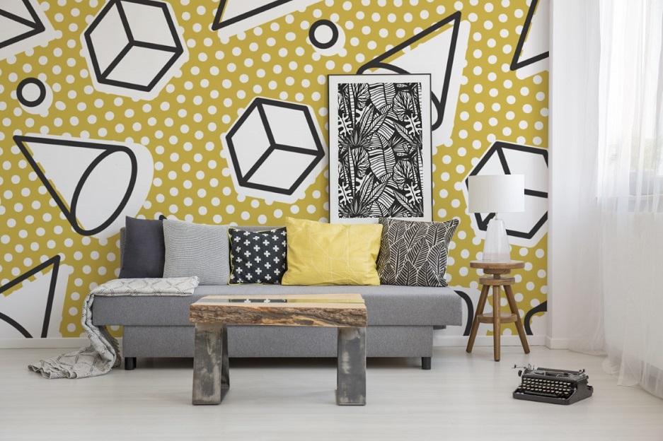tapeta w salonie w dynamiczne wzory 3 D