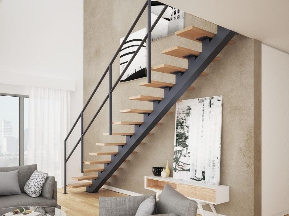 schody jednobiegowe ze stalową poręczą