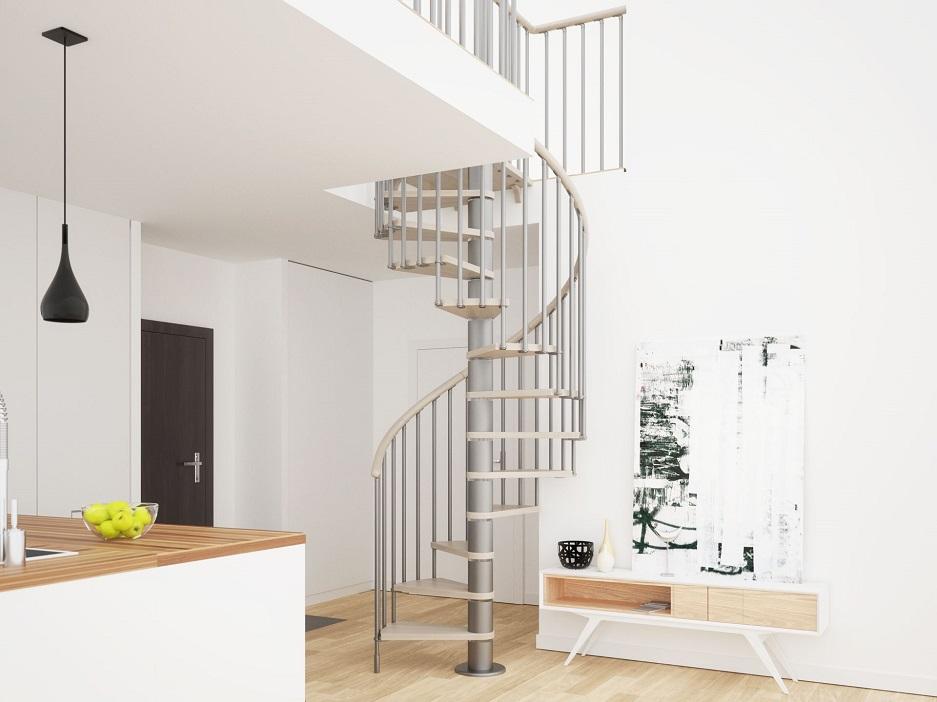 tanie schody kręcone z metalową poręczą