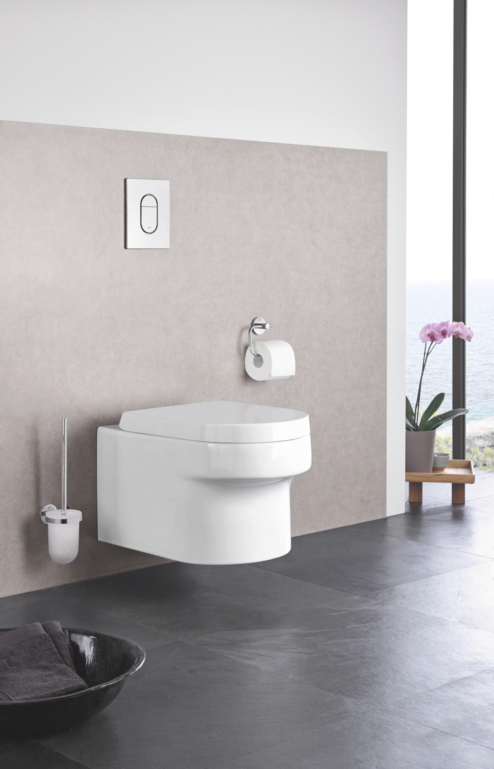Toaleta wykorzystująca system podtynkowy