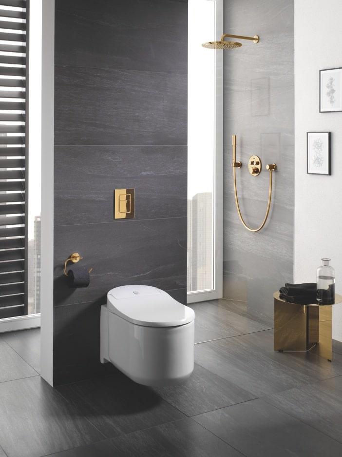 Łazienka w odcieniach szarości z toaletą ze złotym przyciskiem spłukującym i złotym zestawem prysznicowym